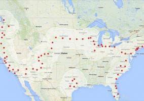 Red de supercargadores de Tesla repartidos a lo largo de Estados Unidos.