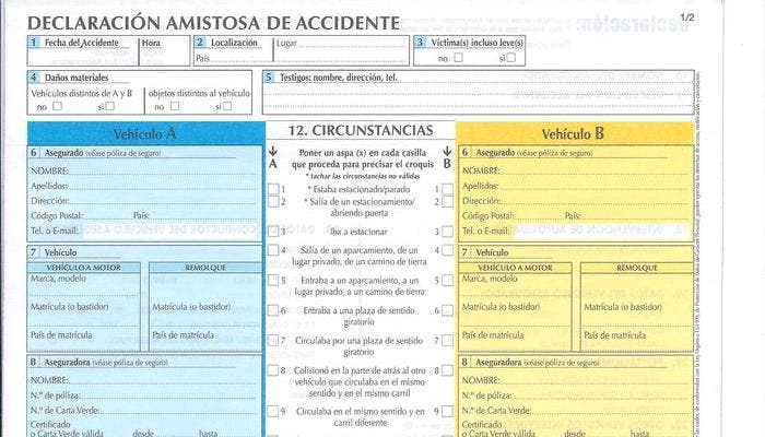 Parte superior de la declaración amistosa de accidente
