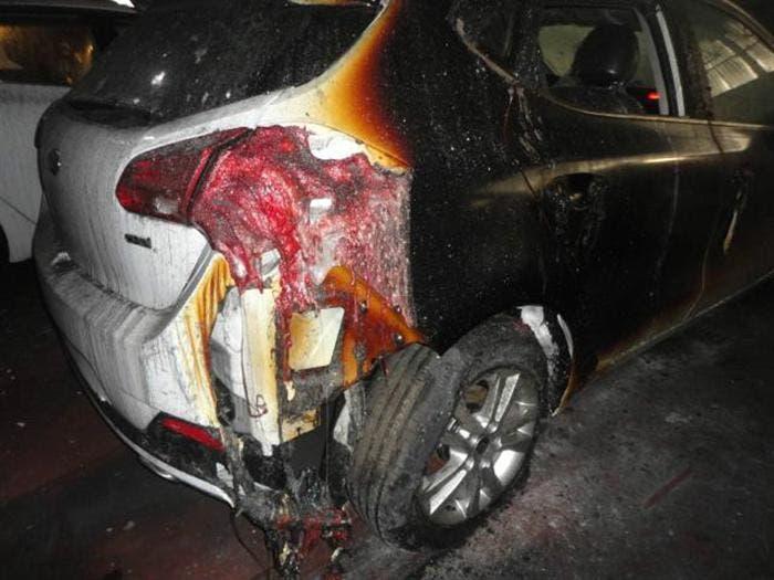 Daños por incendio en un vehículo