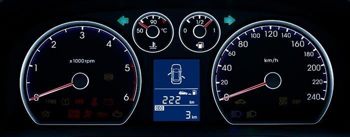Cuadro de relojes de un coche