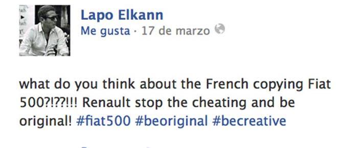 Lapo Elkann compara el nuevo Twingo con su 500
