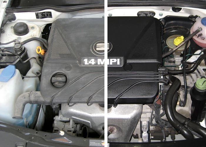 Antes y después de lavar un motor