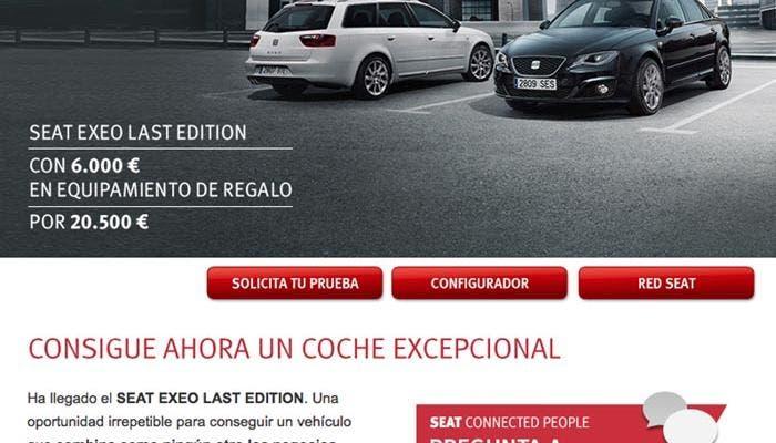 SEAT Exeo Last Edition en la web de SEAT