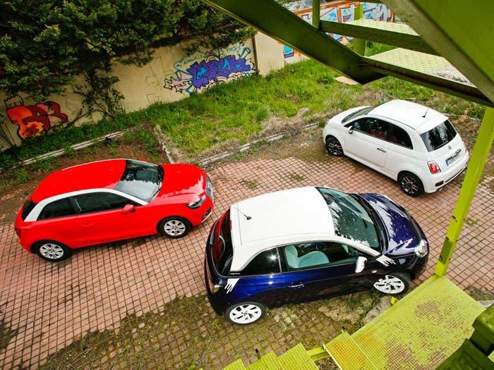 Comparación entre el Audi A1, Fiat 500 y Opel Adam