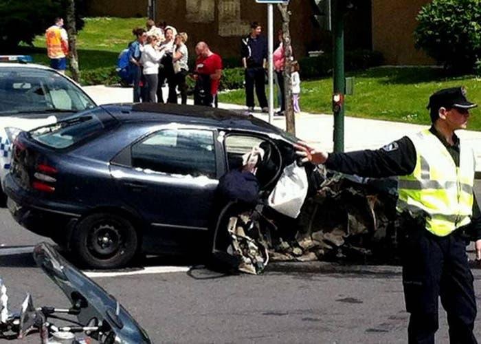 Así quedó el coche involucrado en el choque