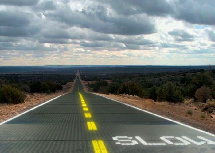 Carretera solar hacia el orizonte