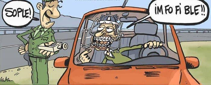 Viñeta cómica sobre control de alcoholemia