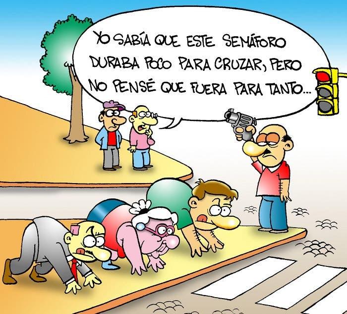 Viñeta cómica sobre semáforos