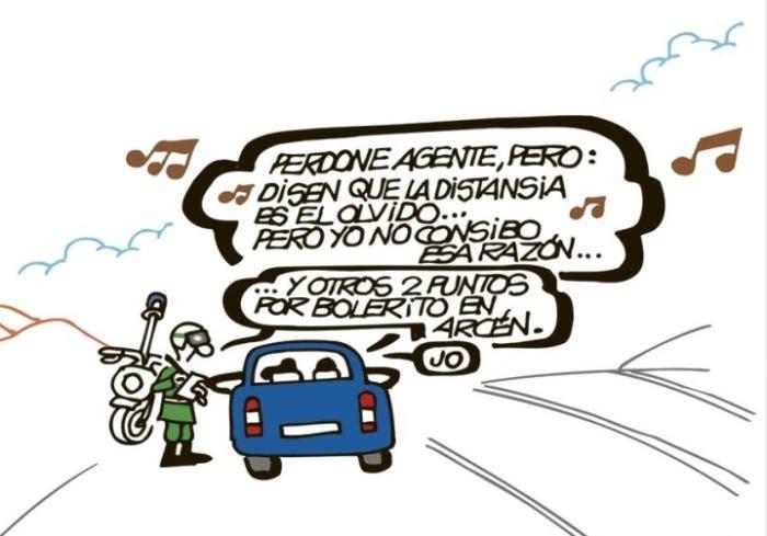 Viñeta cómica sobre multa de tráfico