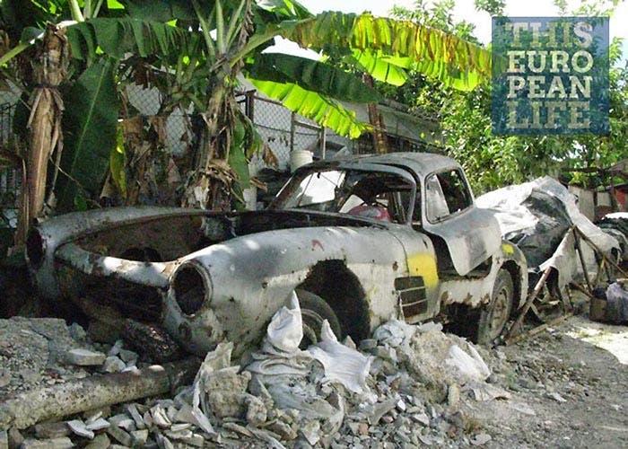 Mercedes 300SL en estado de descomposición en Cuba