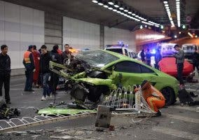 Lamborghini accidentado en Pekín