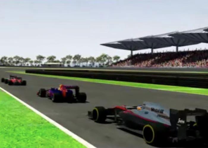 Coches de Fórmula 1 llegando a una curva