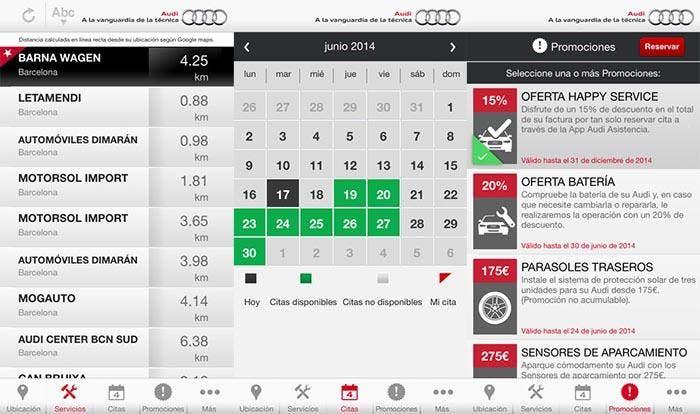 Capturas de la aplicación Audi Asistencia