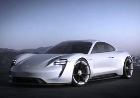 Vista frontal del Porsche Mission E